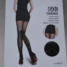Ciorap negru de dama cu model fashion, deosebit la spate