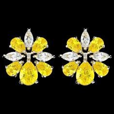 Cercei placati cu Aur 18K si Diamante, Iris Platinum & Yellow
