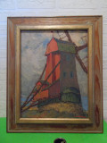 Cumpara ieftin Moara de Vant - PICTURA impresionista IN ULEI , semnata , cromatica deosebita, Peisaje, Impresionism