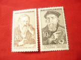 2 Valori Cehoslovacia 1960  - Personalitati culturale, 10 si 20 halleri, Nestampilat
