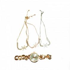 Set de bijuterii cadou format din 3 bratari cu pandativ steluta ceas si cutie cadou