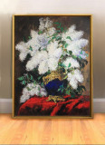 Pictura cu flori in vaza cobalt Tablou cu flori de liliac tablou pictat in cutit