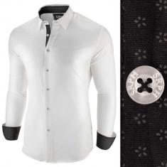 Camasa pentru barbati alb negru slim fit casual Business Class Extra