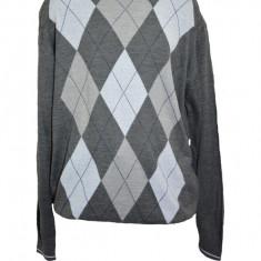 Pulover deosebit, nuanta de gri-alb, imprimeu geometric in tendinte