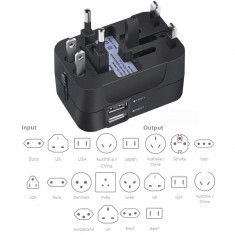 Incarcator universal cu adaptor, 2 porturi USB, negru, Gonga foto