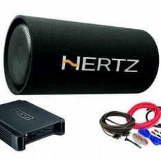 Pachet Subwoofer auto Hertz DST 30.3B + Amplificator Hertz HCP 2 + kit de cabluri complet