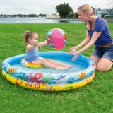 Piscina gonflabila pentru copii, diametru 122 cm, minge, colac, capacitate 114l, imprimeu vesel