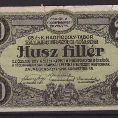 Zalaegerszeg(Ungaria) 1916 - 20 filler lagarul de prizonieri, uz