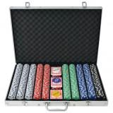 Set de poker cu 1000 de jetoane din aluminiu
