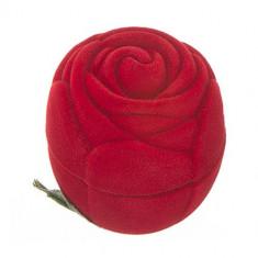 Cutie din catifea pentru inel - trandafir roșu cu frunze