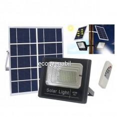 Proiector LED SMD 40W Alb Rece cu Panou Solar si Telecomanda IP66