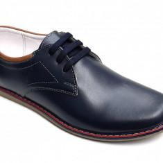 Pantofi barbati casual din piele naturala bleumarin - LUCYANIS SK17BL