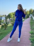 Trening dama albastru din catifea cu fermoar vertical pe spate