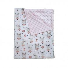 Ingrid's Fabrics Paturica bebelusi Minky - Iepurila Balerina - Roz 75x95cm