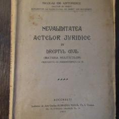 NEVALIDITATEA ACTELOR JURIDICE IN DREPTUL CIVIL-NICOLAE ANTONESCU