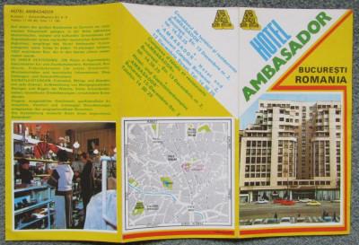 HOTEL AMBASADOR BUCURESTI-Reclama tiparita,anii '70/'80 cu harta. foto