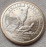 Monedă 1 Dollar 2013 USA, Sacagawea Native, unc, Treaty with the Delaware 1778, America de Nord
