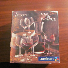 CY - Set 7 piese / carafa + 6 pahare / pentru vin / nefolosite / LUMINARC