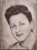 Portret de femeie (Vintage) -  semnat monogramic, Portrete, Carbune, Altul