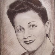 Portret de femeie (Vintage) -  semnat monogramic