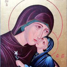 Icoană Sf. Ana cu Maica Domnului - stil bizantin pictata pe lemn - 30x24 cm