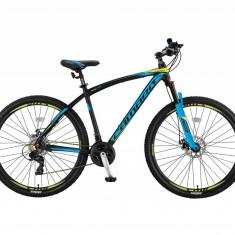 """Bicicleta MTB Umit Camaro 2D, Cadru 18"""" , 21 Viteze , Culoare Negru/Albastru/GalPB Cod:26610180005, Discuri"""
