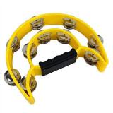 Tamburina clopotei dubla MPM / percuție plastic galben