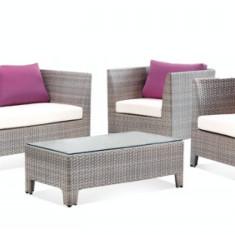 Set mobilier terasa,gradina KALINA TERESINA din ratan 4 piese masa,canapea,2 fotolii.Culoare gri.Perne scaun mov. Raki