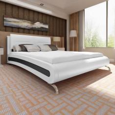 Cadru de pat din piele artificială cu picior, 200 x 180 cm, alb negru