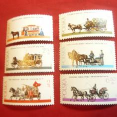 Serie 1980 Polonia - Istoria transportului cu cai , 6 valori