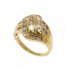 Inel din aur galben 14K cu diamante bagheta, circumferinta 54 mm