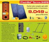 Pachet solar (kit) complet apa calda menajera pentru 3-4 persoane, 200 litri...