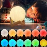 Lampa luna 3D 12cm, multicolora 5 efecte, reincarcabila, telecomanda, suport lemn, ProCart