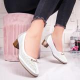 Pantofi dama cu toc mic albi cu gri Siemia