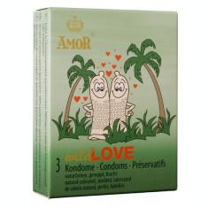 Prezervative cu nervuri AMOR Wild Love 3 buc.