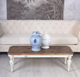 Masa living din lemn masiv alb antichizat cu blat din lemn maro BEF002