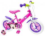 """Bicicleta pentru fetite cu roti ajutatoare, 12"""" 3-5 ani Minnie Mouse, Stamp"""