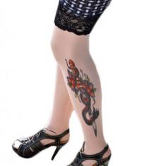 F128 Ciorapi trei sferturi cu model imitatie tatuaj