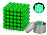 Joc Bile Magnetice NeoCube Antistres, 216 piese, Diametru Bile 5mm, verde fluorescent