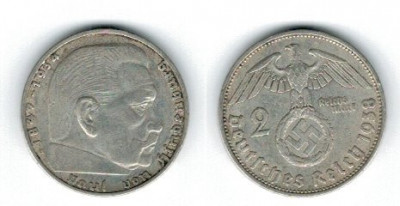 Germania 1938 - 2 Mark A, Ag foto