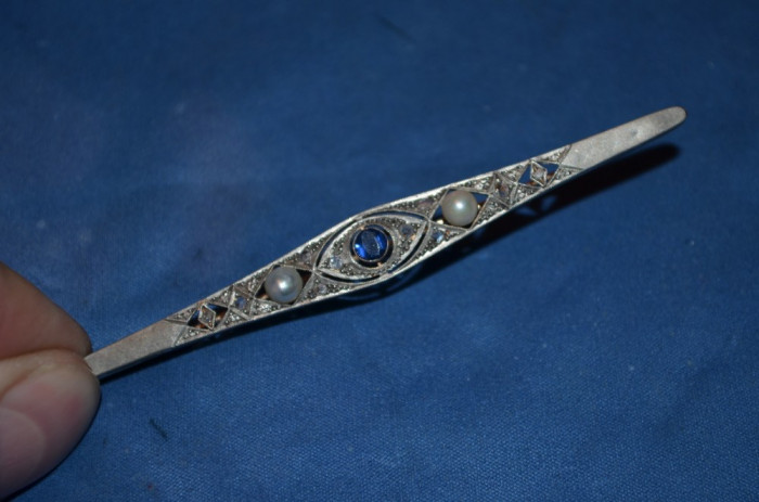 BROSA AUR 14K + ARGINT + 22 Diamante + 2 Perle + Topaz - 8.8 cm - Art Deco - 6g.
