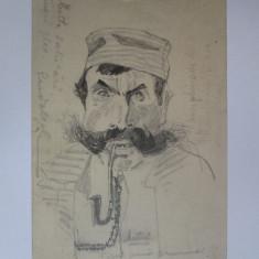 Rara!Carte postala circulata 1911 cu un desen original semnat:Schweitzer-Cumpăna, Portrete, Carbune, Realism