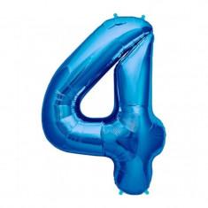 Balon folie cifra mare, albastru metalizat, 35 cm, pentru aniversari model model 4