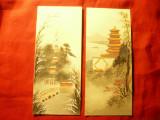 Set 2 Acuarele pe carton - Peisaje China - Pagode , dim.= 7x 16cm