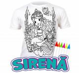 Tricou de colorat cu markere lavabile Sirena 5-6 ani