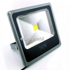 Proiector LED 50W Metalic Slim Alb Rece 220V