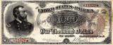 1000 dolari 1890 Reproducere Bancnota USD  ,   Dimensiune reala 1:1