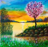 """Pictura tablou pe panza 40x40 cm """"Lacul"""", Natura, Acrilic, Realism"""