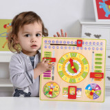 Jucarie calendar din lemn pentru copii Invata Ceasul, Lunile, Zilele saptamanii, Anotimpurile, Vremea