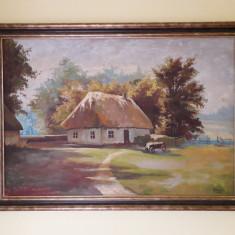 Peisaj – frumoasă pictură în ulei, semnată, din anul 1960, Peisaje, Impresionism